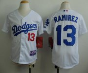Wholesale Cheap Dodgers #13 Hanley Ramirez White Cool Base Stitched Youth MLB Jersey