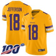 Wholesale Cheap Nike Vikings #18 Justin Jefferson Gold Men's Stitched NFL Limited Inverted Legend 100th Season Jersey