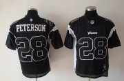 Wholesale Cheap Vikings #28 Adrian Peterson Black Shadow Stitched NFL Jersey
