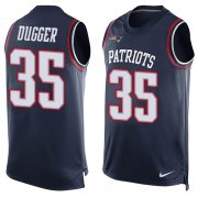Wholesale Cheap Nike Patriots #35 Kyle Dugger Navy Blue Team Color Men's Stitched NFL Limited Tank Top Jersey