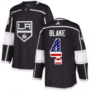 Wholesale Cheap Adidas Kings #4 Rob Blake Black Home Authentic USA Flag Stitched Youth NHL Jersey