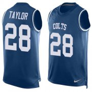 Wholesale Cheap Nike Colts #28 Jonathan Taylor Royal Blue Team Color Men's Stitched NFL Limited Tank Top Jersey