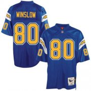 Wholesale Cheap Mitchell And Ness Chargers #80 Kellen Winslow Blue Throwback Stitched NFL Jersey