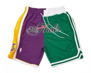Wholesale Cheap 2008 NBA Finals Lakers x Celtics Shorts (Purple-Green) JUST DON By Mitchell & Ness