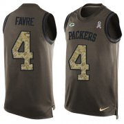 Wholesale Cheap Nike Packers #4 Brett Favre Green Men's Stitched NFL Limited Salute To Service Tank Top Jersey