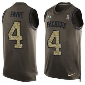Wholesale Cheap Nike Packers #4 Brett Favre Green Men\'s Stitched NFL Limited Salute To Service Tank Top Jersey