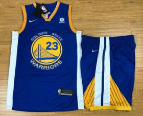 Wholesale Cheap Men\'s Golden State Warriors #23 Draymond Green Blue 2017-2018 Nike Swingman Rakuten Stitched NBA Jersey With Shorts