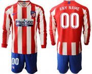 Wholesale Cheap Atletico Madrid Personalized Home Long Sleeves Soccer Club Jersey
