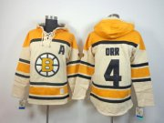 Wholesale Cheap Bruins #4 Bobby Orr Cream Sawyer Hooded Sweatshirt Stitched NHL Jersey
