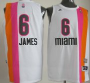 Wholesale Cheap Miami Floridians #6 LeBron James ABA Hardwood Classic Swingman White No Holes Jersey