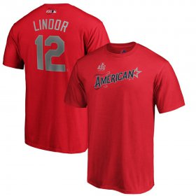 Wholesale Cheap American League #12 Francisco Lindor Majestic Youth 2019 MLB All-Star Game Name & Number T-Shirt