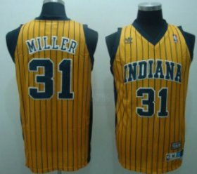 Wholesale Cheap Indiana Pacers #31 Reggie Miller Yellow Pinstripe Swingman Throwback Jersey