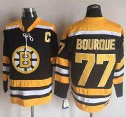 Wholesale Cheap Bruins #77 Ray Bourque Black/Yellow CCM Throwback New Stitched NHL Jersey