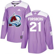 Wholesale Cheap Adidas Avalanche #21 Peter Forsberg Purple Authentic Fights Cancer Stitched NHL Jersey