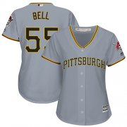 Wholesale Cheap Pirates #55 Josh Bell Grey Road Women's Stitched MLB Jersey