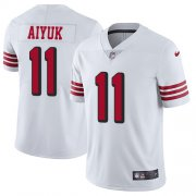 Wholesale Cheap Nike 49ers #11 Brandon Aiyuk White Men's Stitched NFL Limited Rush Jersey