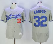 Wholesale Cheap Dodgers #32 Sandy Koufax Grey Flexbase Authentic Collection Road Stitched MLB Jersey