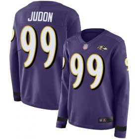 Wholesale Cheap Nike Ravens #99 Matthew Judon Purple Team Color Women\'s Stitched NFL Limited Therma Long Sleeve Jersey