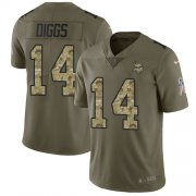 Wholesale Cheap Nike Vikings #14 Stefon Diggs Olive/Camo Youth Stitched NFL Limited 2017 Salute to Service Jersey