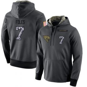 Wholesale Cheap NFL Men\'s Nike Jacksonville Jaguars #7 Nick Foles Stitched Black Anthracite Salute to Service Player Performance Hoodie