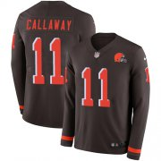 Wholesale Cheap Nike Browns #11 Antonio Callaway Brown Team Color Men's Stitched NFL Limited Therma Long Sleeve Jersey