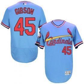 Wholesale Cheap Cardinals #45 Bob Gibson Light Blue Flexbase Authentic Collection Cooperstown Stitched MLB Jersey