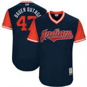 "Wholesale Cheap Indians #47 Trevor Bauer Navy ""Bauer Outage"" Players Weekend Authentic Stitched MLB Jersey"