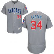 Wholesale Cheap Cubs #34 Jon Lester Grey Flexbase Authentic Collection Road Stitched MLB Jersey