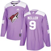 Wholesale Cheap Adidas Coyotes #9 Clayton Keller Purple Authentic Fights Cancer Stitched Youth NHL Jersey
