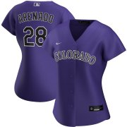 Wholesale Cheap Colorado Rockies #28 Nolan Arenado Nike Women's Alternate 2020 MLB Player Jersey Purple