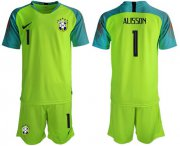 Wholesale Cheap Brazil #1 Alisson Shiny Green Goalkeeper Soccer Country Jersey