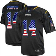 Wholesale Cheap Nike Chargers #14 Dan Fouts Black Men's Stitched NFL Elite USA Flag Fashion Jersey