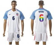 Wholesale Cheap USA #6 Nagbe White Rainbow Soccer Country Jersey