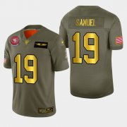 Wholesale Cheap Nike 49ers #19 Deebo Samuel Men's Olive Gold 2019 Salute to Service NFL 100 Limited Jersey