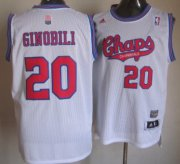 Wholesale Cheap San Antonio Spurs #20 Manu Ginobili ABA Hardwood Classic White Swingman Jersey