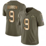 Wholesale Cheap Nike Bengals #9 Joe Burrow Olive/Gold Men's Stitched NFL Limited 2017 Salute To Service Jersey