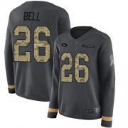 Wholesale Cheap Nike Jets #26 Le'Veon Bell Anthracite Salute to Service Women's Stitched NFL Limited Therma Long Sleeve Jersey