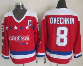 Wholesale Cheap Capitals #8 Alex Ovechkin Red CCM Throwback Stitched NHL Jersey