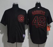 Wholesale Cheap Cubs #49 Jake Arrieta Black Strip Stitched MLB Jersey