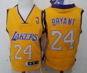 Cheap Los Angeles Lakers #24 Kobe Bryant Yellow Toddlers Jersey