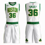 Wholesale Cheap Boston Celtics #36 Marcus Smart White Nike NBA Men's City Authentic Edition Suit Jersey
