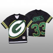 Wholesale Cheap NFL Green Bay Packers #33 Aaron Jones Black Men's Mitchell & Nell Big Face Fashion Limited NFL Jersey