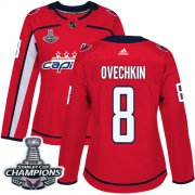 Wholesale Cheap Adidas Capitals #8 Alex Ovechkin Red Home Authentic Stanley Cup Final Champions Women's Stitched NHL Jersey