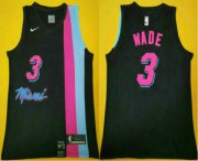 Wholesale Cheap Men's Miami Heat #3 Dwyane Wade NEW Black 2020 Nike Swingman Stitched NBA Jersey
