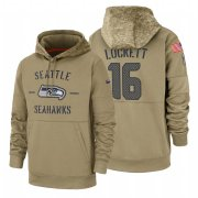 Wholesale Cheap Seattle Seahawks #16 Tyler Lockett Nike Tan 2019 Salute To Service Name & Number Sideline Therma Pullover Hoodie