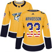 Wholesale Cheap Adidas Predators #33 Viktor Arvidsson Yellow Home Authentic USA Flag Women's Stitched NHL Jersey