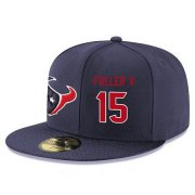 Wholesale Cheap Houston Texans #15 Will Fuller V Snapback Cap NFL Player Navy Blue with Red Number Stitched Hat