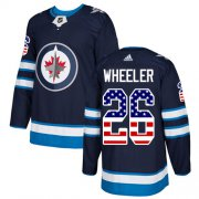 Wholesale Cheap Adidas Jets #26 Blake Wheeler Navy Blue Home Authentic USA Flag Stitched NHL Jersey