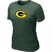 Wholesale Cheap Women's Green Bay Packers Neon Logo Charcoal T-Shirt Dark Green