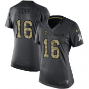 Wholesale Cheap Nike Rams #16 Jared Goff Black Women's Stitched NFL Limited 2016 Salute to Service Jersey